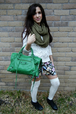 floral skirt - black back wedge boots - white sweater