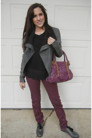 veda leather jacket - oxford shoes - maroon jeans - marc jacobs bag