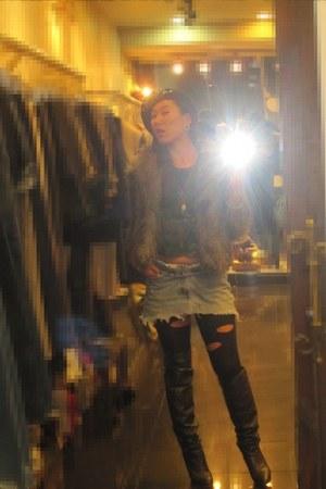 brown H&M jacket - black vintage shirt - turquoise blue Lives 501 DIY skirt - bl