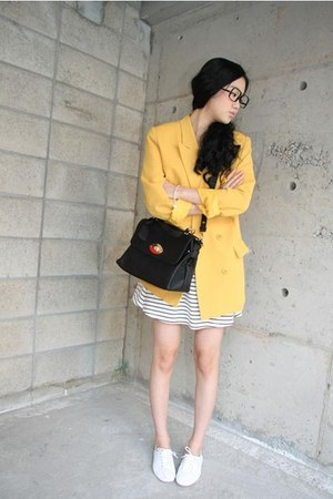 black modcloth purse - white Keds shoes - mustard 4chi blazer