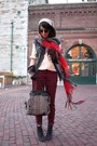 Light-pink-madewell-shirt-red-scotland-scarf-brick-red-h-m-pants