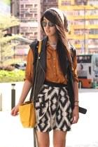 burnt orange Zara shirt - orange Zara bag - heather gray Zara skirt