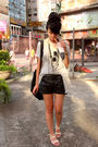 Black-zara-shorts-gray-random-from-hong-kong-dress-black-h-m-belt-pink-kor