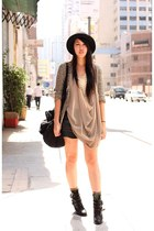 black H&M hat - black Zara shorts - olive green H&M socks - nude Monki top - pea