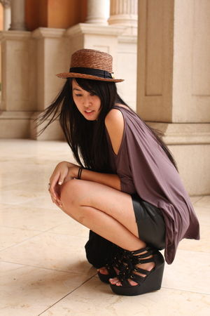 black random from Hong Kong shoes - brown from japan hat - black Zara shorts