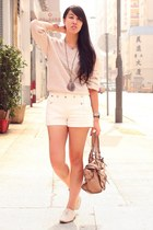 white Zara shoes - beige Uniqlo sweater - pink bag - white Zara shorts - burnt o