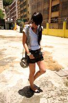 black Zara shorts - blue random from Hong Kong shirt - black Salvatore Ferragamo