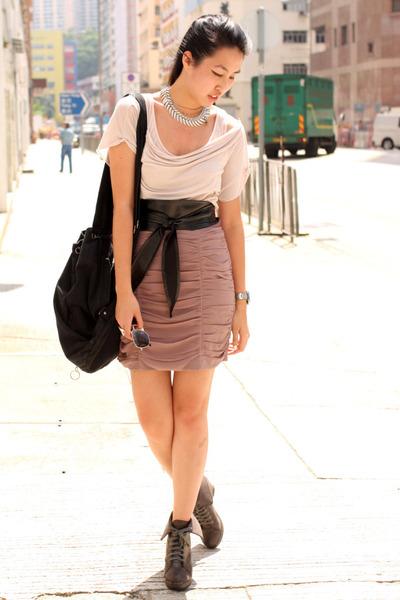 pink random from Hong Kong t-shirt - pink H&M skirt - brown random from Hong Kon