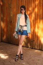 aquamarine Hong Kong shirt - heather gray Alexander Wang bag - blue korea shorts