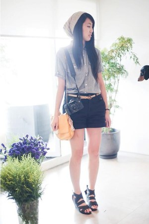 light blue asos shirt - gold Zara bag - black Zara shorts