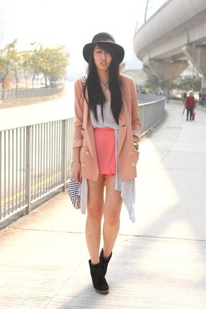 peach korea blazer - coral korea shorts