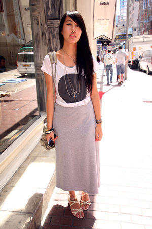 gray random from Hong Kong dress - silver self-made necklace - white Forever 21