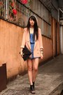 Neutral-random-from-hong-kong-hat-peach-korea-blazer-black-asos-bag-sky-bl
