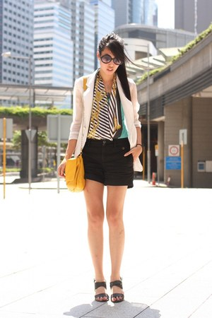 turquoise blue Hong Kong top - gold Zara bag - black Zara shorts