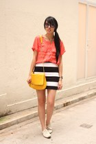 white Zara shoes - coral H&M shirt - yellow Zara bag - black H&M skirt