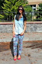 red Zara heels - print Cool Cat jeans - denim Moonstruck shirt