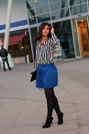 stripe PERSUNMALL shirt - blue PERSUNMALL skirt - Zara heels