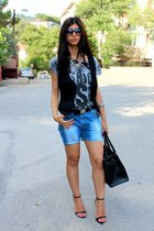 DIY shorts - Mango vest - Zara t-shirt - Zara heels - Levis belt