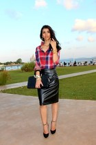 Tiffany shirt - leather custom made skirt - Zara heels - Koton accessories