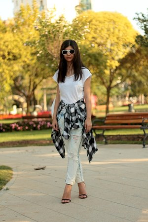 tartan Koton shirt - boyfriend Zara jeans - white H&M sunglasses