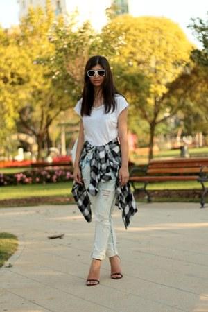 tartan Koton shirt - boyfriend Zara jeans - white H&M sunglasses