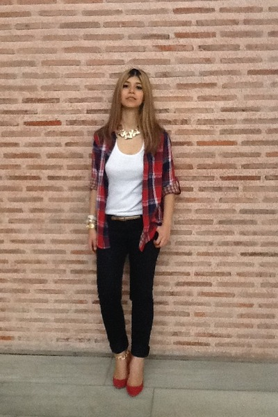 checked From Local shirt - black Pull-it jeans - red Zara heels