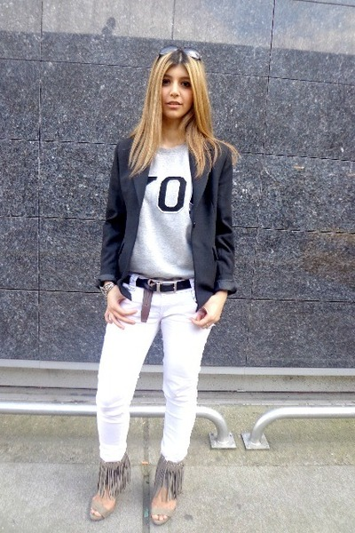 black Mommys jacket - white Pull-it jeans - yo weekday top - black Levis belt