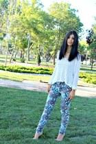 print Coolcat jeans - white BikBok top