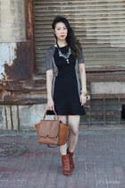 bronze Givenchy boots - black warehouse dress - bronze Celine bag