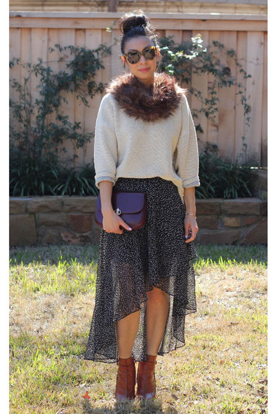 f21 skirt - Givenchy boots - American Apparel sweater - H&M scarf - Celine bag