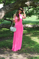 gold coach wedges - hot pink Ted Baker London dress - white similar Chanel bag