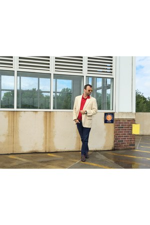 navy Old Navy jeans - brown Oakton shoes - cream Brooks Brothers blazer