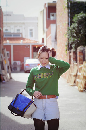 green Kenzo jumper - denim Guess shorts