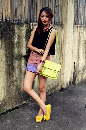 yellow yellow bow flats - chartreuse satchel Parisian bag