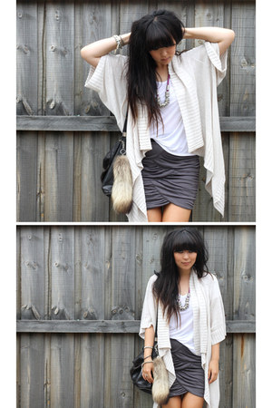 charcoal gray gathered skirt - black vintage bag - beige vintage cardigan