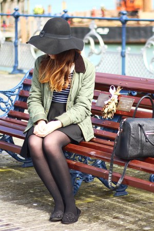 black Primark hat - olive green Boohoocom jacket - navy striped H&M top