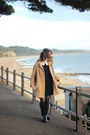 Black-leather-topshop-boots-black-ebay-dress-tan-wool-vintage-coat