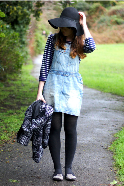 light blue vintage dress - black Primark hat - black Primark jacket