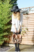 black Primark hat - brown Primark bag - periwinkle dip-dye Topshop shorts