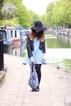 light blue denim pinafore Ebay dress - black Primark hat