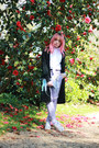 Black-duster-primark-jacket-ivory-fat-face-shirt-silver-unicorn-ebay-bag