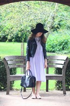 black fedora felt Primark hat - periwinkle gingham DIY dress