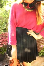 hot pink Monki jumper - black Primark blouse - black Zara skirt