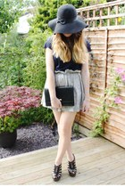 black Primark hat - black vintage bag - silver Pull & Bear skirt