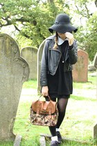 black Ebay dress - black Primark hat - black Ebay jacket - brown Primark bag