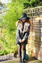 charcoal gray tweed Mango jacket - black Primark hat - white Ebay shirt
