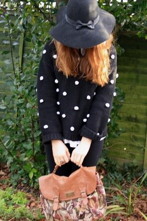 black Primark hat - white asos shirt - brown Primark bag - black Ebay jumper