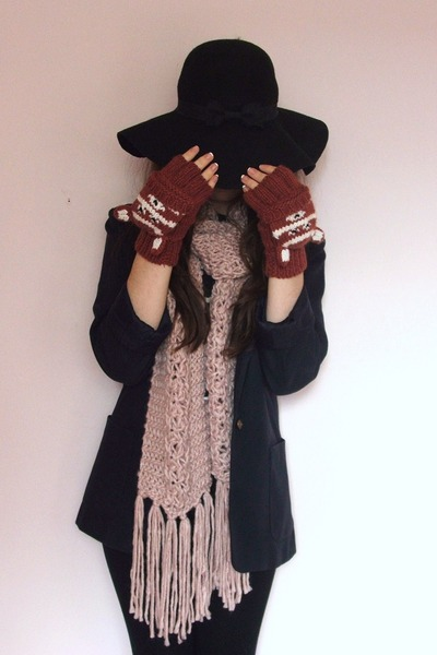 light pink Primark scarf - black Primark hat - navy vintage blazer