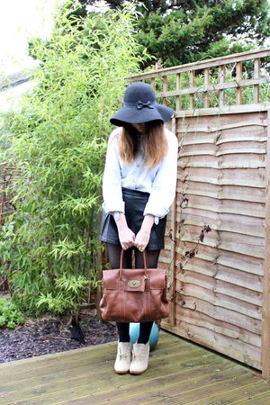 black Primark hat - light blue next shirt - brown Mulberry bag
