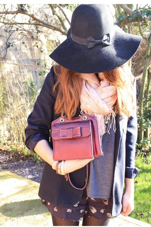 black Primark hat - navy vintage blazer - navy DIY shorts - navy Topshop top